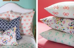 British Bouquet and Coral Bows from Caitlin Wilson. These pillows are perfection!
