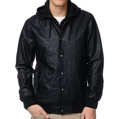 You don't have to be hittin' homers, scoring touchdowns, or getting three point shots to rock the Varsity Legend jacket from Obey. This guys varsity jacket is black allover with a black fleece hoodie built in. Stay extra warm and cool with the attached hood, zipper and snap button closure, side hand pockets, and ribbed cuffs, hem, and collar. This guys Obey jacket has the styling of a letterman jacket and the fashion of a bomber jacket.