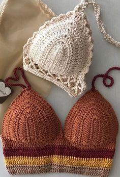 40 patrones de bikini de ganchillo hermoso y bodacious gratis - Moda mujer Motif Bikini Crochet, Bikinis Crochet, Crochet Bra, Mode Crochet, Crochet Crop Top, Crochet Crafts, Crochet Clothes, Crochet Projects, Doilies Crochet