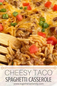 Cheesy taco spaghetti casserole is the ultimate dinner comfort food. Cheesy pasta loaded with taco seasoned ground beef, chili beans, and tomato. Bakes in one pan, serves a crowd, and the leftovers are fabulous for another meal! Taco Spaghetti, Spaghetti Casserole, Spaghetti Recipes, Cheesy Spaghetti, Meat Recipes, Mexican Food Recipes, Cooking Recipes, Pasta Recipes, Spanish Recipes