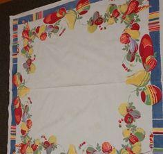 Wilendur Vintage Cotton Tablecloth with Tropical Fruit