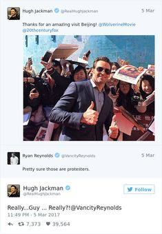 Hugh Jackman, AKA Wolverine, is currently on the circuit promoting his new movie, Logan. But when he tweeted a picture of himself with fans in Beijing recently, he probably wasn't expecting to be trolled by another popular member of the Marvel ensemble.