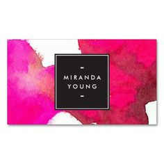 Elegant Abstract Fuchsia Watercolor Designer Business Card Template for Makeup Artists - fully customizable