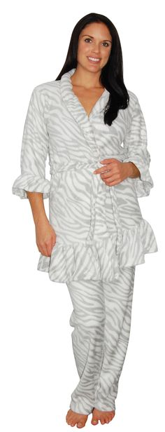 Plush Grey Zebra Striped Ruffle Trim Robe with matching Pant Set