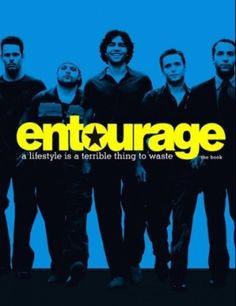 The image is filled with only two colors in this image. The title Entourage pops in yellow, establishing a cleaner reading of the image.