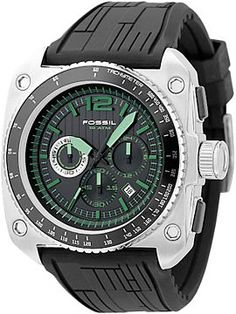 Fossil Green Dial Chronograph Watch - lifestylerstore - http://www.lifestylerstore.com/fossil-green-dial-chronograph-watch/