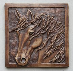 Horse tile 1 - choc brn by Sharon Smith Stoneware ~ 3.75 x 3.75 Wood Carving Faces, Wood Carving Art, Texture Painting, Painting On Wood, Horse Crafts, Art N Craft, Horse Sculpture, Horse Art, Clay Art
