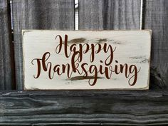 Thanksgiving Rustic Sign / Distressed Wooden Sign / Thanksgiving Vintage Sign…