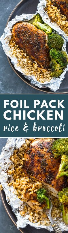 Foil Pack Chicken Rice and Broccoli | Gimme Delicious