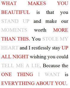 I took One Direction's songs and put the titles into a couple sentences. I put this (in puffy paint i might add) on to the backs of all the girl's shirts who i am going to the concert with!