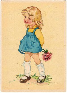Little girl illustration Retro Images, Vintage Pictures, Vintage Greeting Cards, Vintage Postcards, Little Girl Illustrations, Vintage Illustrations, Retro Kids, Vintage Drawing, Vintage Children's Books