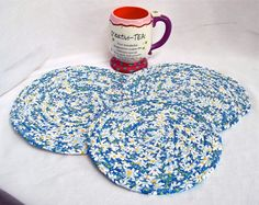 Blue Sky Trivets Handmade Blue Sky Mug Rugs by WexfordTreasures