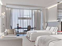 hotel interiors Baccarat Hotel and Residences New York, New York, Grand Room, 2 Double Beds, Guestroom Hotel Bedroom Decor, Hotel Inspired Bedroom, Hotel Room Design, Hotel Decor, Home Bedroom, Luxury Interior, Interior Design, Luxury Decor, Hotel Interiors