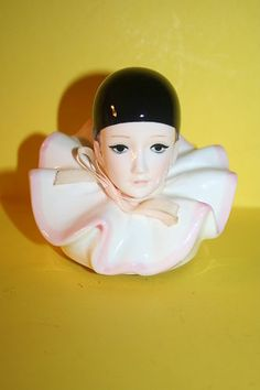 Schmid Pierrot Love Porcelain Clown Head Music Box  Have this!
