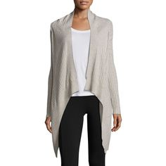Splendid Hanford Heathered Cardigan (£165) ❤ liked on Polyvore featuring tops, cardigans, apparel & accessories, heather oatmeal, asymmetric top, asymmetrical cardigan, oatmeal cardigans, long sleeve asymmetric top and ribbed cardigan
