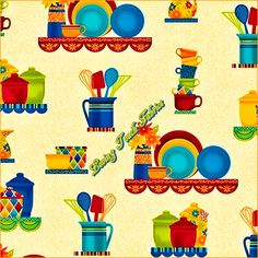 Salsa Pottery Quilting Treasures #1649-24101-E Kitchen Dishes Pitchers Cotton Fabric Priced Per 1/2 Yd. by LOVINGTOUCHFABRICS2 on Etsy