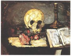 Still life with skull, candle and book - Cezanne Paul