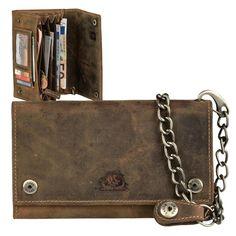 7e33c6a419355 GreenBurry Leder Kettenbörse lang Geldbörse braun Portemonnaie Bikerbörse