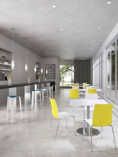 Fina Plastic Chairs Shown With Tre Barstools And Prat Table