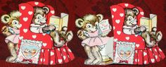 Adorable bears from the 1950s,  the card folds out to reveal the girl bear. #vintage #valentine #fun #bear #cute #adorable   check out the full article at http://inondate.ie/fun/vintage-valentines-cards/