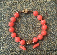 Bracelet ethnique perles de corail et tête de Boudha par Ocelyane