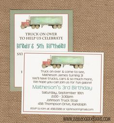TRUCK Invitation multiple styles  by BabadooStationery on Etsy, $15.00 and www.BabadooDesigns.com