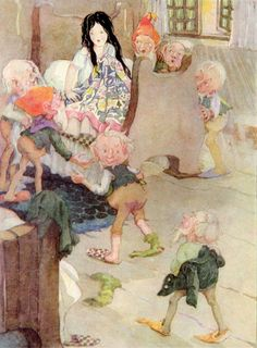 'Snow-White awoke, and was quite frightened when she saw the seven little men.' Snow White Illustration from Fairy Tales of Grimm - Illustration by Anne Anderson Harry Potter, Grimm's Snow White, Fairy Paintings, Harry And Ginny, Brothers Grimm, Grimm Fairy Tales, Fairytale Art, Children's Book Illustration, Book Illustrations