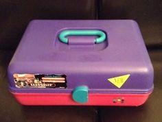 Vtg Caboodles Makeup Organizer Travel Caddy Train Case Extra Large Purple Pink | eBay