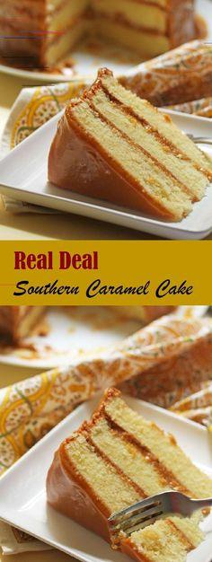 Real Deal Southern Caramel Cake Recipe - Must do - Blechkuchen Easy Cake Recipes, Dessert Recipes, Desserts, Pumpkin Cheesecake, Cheesecake Recipes, Southern Caramel Cake, Carmel Cake, Caramel Frosting, Caramel Cupcakes