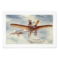 Boys Room Wall Art Lovely vintage illustration of a rabbit flying an airplane. Excellent decoration for a little boy's room. Frame...