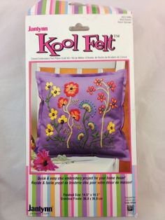 Janlynn Crewel Embroidery Kool Felt Pillow Craft Kit Wild Flowers Purple