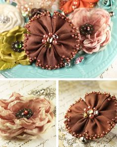 try beading on purchased 'silk' flowers too So I have a beading and fabric stash, even some silk flowers and this is a pretty way to use those stashes to create and design some unique textile projects. Interesting use of beads on the flower petal edges. Ribbon Art, Fabric Ribbon, Ribbon Crafts, Flower Crafts, Fabric Crafts, Ribbon Flower, Cloth Flowers, Felt Flowers, Beaded Flowers