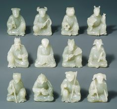 Twelve animals of the Chinese zodiac, Qing dynasty China. The Metropolitan Museum of Art, New York. Gift of Heber R. Year Of The Monkey, Year Of The Pig, Ancient China, Ancient Art, Chinese Zodiac Rat, Le Jade, 12 Zodiac, Zodiac Signs, China Art