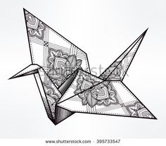 Origami  ornate bird. Paper crane stylized triangle polygonal model with paisley details . Hand drawn isolated vector illustration. Invitation element. Tattoo, oriental, boho, hope symbol.
