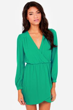 That's a Wrap Teal Green Long Sleeve Dress at LuLus.com! Love dresses with sleeves. Elegant but Sexy!