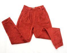 Vintage Red Ribbed Velvet Pants // Corduroy Pants // by DejaYu
