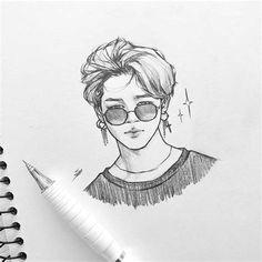Kpop Drawings, Art Drawings Sketches Simple, Pencil Art Drawings, Sketch Drawing, Hipster Drawings, Couple Drawings, Jimin Fanart, Kpop Fanart, Art Sketchbook