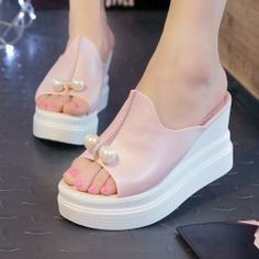 Cheap slippers slide, Buy Quality beach slippers directly from China sandals summer Suppliers: Women Wedges Platform Sandals Summer Beach Slippers Thick Heel Slippers Slides Ladies Casual Shoes Zapatos Mujer Open Toe Shoes, High Shoes, Womens Shoes Wedges, Womens High Heels, Ladies Wedges, Ladies Shoes, Shoes Women, Slipper Sandals, Thick Heels