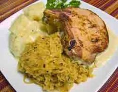 Kasseler with sauerkraut http://www.quick-german-recipes.com/kassler-chops-with-sauerkraut.html