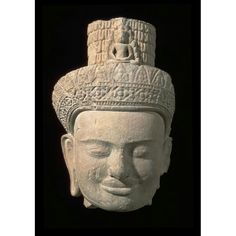 Head of an image of the bodhisattva Avalokiteshvara  Place of Origin:Cambodia, former kingdom of Angkor  Date:approx. 925-975  Materials:Stone  Style or Ware:Koh Ker