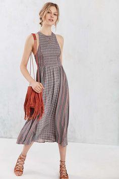 Kimchi Blue Joclyn Smocked Bodice Midi Dress #UrbanOutfitters $70