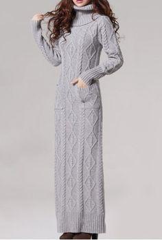 Stylish Turtle Neck Hemp Flower Pattern Long Sleeve Women's Sweater Maxi Dress