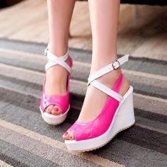 Cross Strap Platform Wedges Sandals Women Pumps Peep Toe Shoes Woman