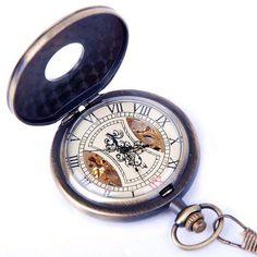 Amazon.com: Skeleton Pocket Watch Chain Mechanical Hand Wind Vintage Zodiac Design Full Hunter Value Quality - PW15: ShoppeWatch: Watches