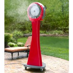 The 21 Gallon Portable Misting Fan - Hammacher Schlemmer. I need one of these for those hot summer days so I could actually enjoy being outside in the heat.