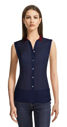 Blue sleeveless blouse with red collar Suits For Women, Blouses For Women, Design Your Shirt, Party Jackets, Custom Made Clothing, Party Suits, Business Casual Dresses, White Sleeveless Blouse, High Waisted Pencil Skirt