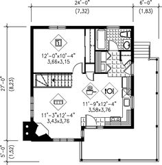 613 sq ft - House Plan chp-32423 at COOLhouseplans.com