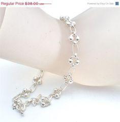 """On Sale Vintage Bead Bracelet Sterling Silver 8"""" Long 925 Jewelry"""