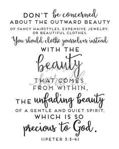 Beautiful 1 Peter 3:3-4 Bible verse print  Digital Files