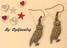 owl earrings, bird earrings, nature lover, bohemian jewelry, rustic jewelry…